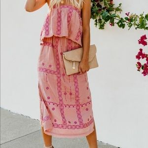 Dresses & Skirts - Pink Embroidered Strapless Dress with tie back